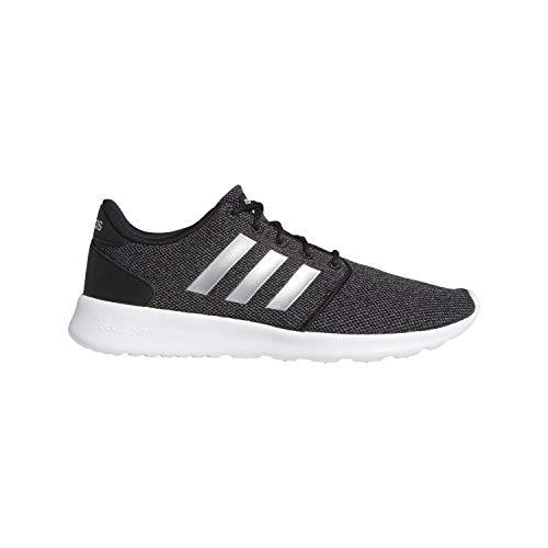 adidas Women's Cloudfoam QT Racer Running Shoe Sneaker, Black/Silver Metallic/Grey, 7.5 M US