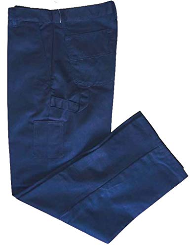 - Men's Carpenter Slim Fit Pant,Flat Front, 65% Poly 35% Cotton Twill with 7 Pockets, Two side Pockets, Two Back Patch Pockets, Three Tool Pockets and Hammer Loop. (38x32, Navy)