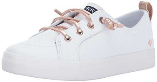 SPERRY Girls' Crest Vibe Sneaker, White Leather, 3.5 Medium US Big Kid