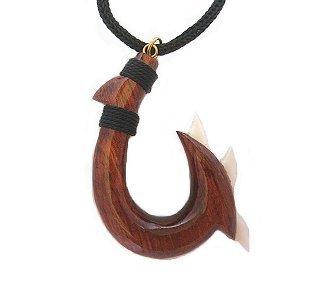 Hawaiian Koa Wood Shark Tooth Fish Hook Necklace