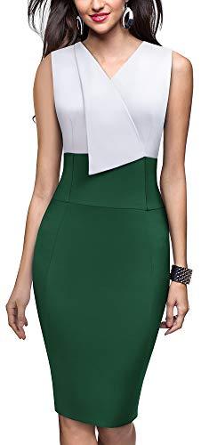 HOMEYEE Women Vintage Contrast Color Lapel V Neck Business Dress ()