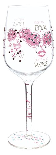 Diva Wine Glass (Let's Toast 15 Ounce Rhinestones & Glitter Wine Glass (Instant Diva))