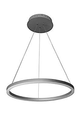 VONN VMC31640AL Modern LED Circular Chandelier Lighting with Adjustable Hanging Light, Silver