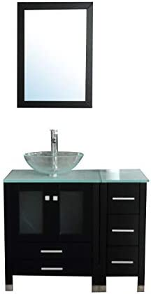 Walcut 36 Bathroom Vanity and Sink Combo – MDF Wood Cabinet and Glass Vessel Sink and Faucet Combo 7