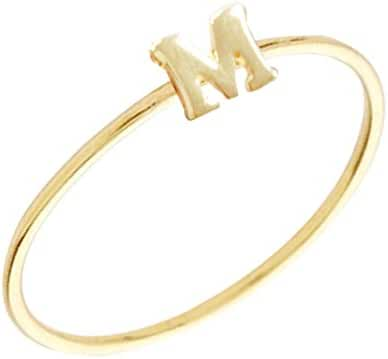 Wrapables Gold Plated Stackable Initial Letter Ring Size 7