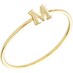 Gold Plated Stackable Initial Letter Ring Size 7, Letter M