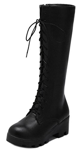Heels Mid Up Aisun Boots Women's Chunky Shoes Black Lace Trendy wqUUYI7