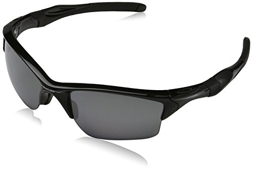 Oakley Men's OO9144 Half Jacket 2.0 Rectangular Sunglasses, Polished Black/Black Iridium Polarized, 62 mm