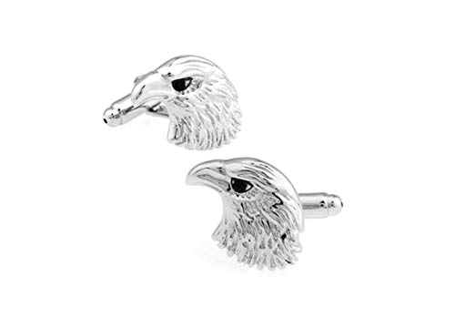 Cufflinks Head Eagle - ANAZOZ Casual Cufflinks, Eagle Head Silver Classic Wedding Cuff Links for Tuxedo Shirts Formal Business Shirts