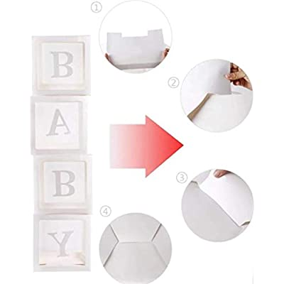 Baby Shower Decoration Blocks for Boy, Baby Boy Blocks Decoration, Welcoming for new born Transparent Balloon box for Boy, Baby Boy First Birthday, Gender Reveal, Room Decoration and party Favor for Boy, Wedding Party favor: