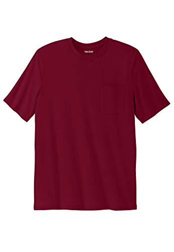 Rich Crewneck - KingSize Men's Big & Tall Shrink-Less Lightweight Pocket Crewneck T-Shirt, Rich Burgundy Tall-6XL