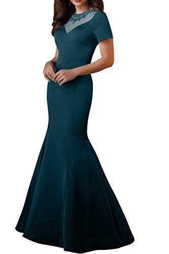 Abendkleider Tuerkis Damen Brautmutterkleider Dunkel Glamour Ballkleider Charmant Perlen Kurzarm Lang Meerjungfrau 6FIfwqIaP