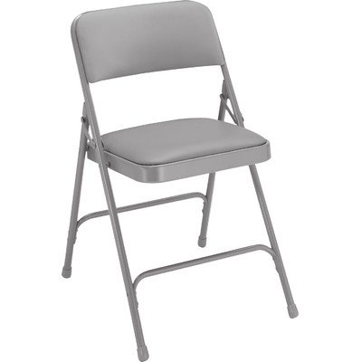 National Public Seating 1200 Series Steel Frame Upholstered Premium Vinyl Seat and Back Folding Chair with Double Brace, 480 lbs Capacity, Warm Gray/Gray (Carton of 4) by NPS