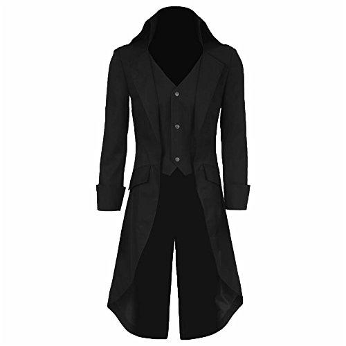 COSSKY Boys Gothic Tailcoat Jacket Steampunk Long Coat Halloween Costume (Black, 7)