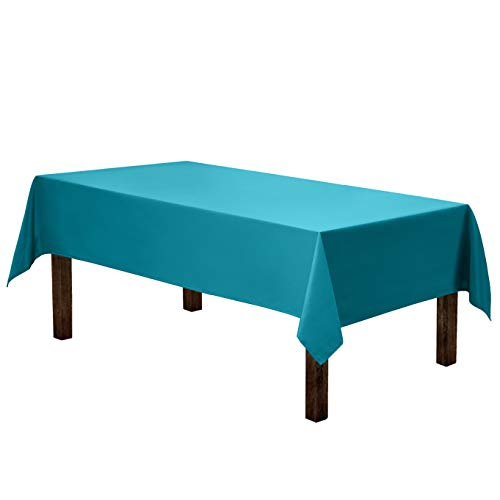 Gee Di Moda Rectangle Tablecloth - 60 x 84 Inch - Caribbean Rectangular Table Cloth for 5 Foot Table in Washable Polyester - Great for Buffet Table, Parties, Holiday Dinner, Wedding & More (Teal Table Cloth Linen)