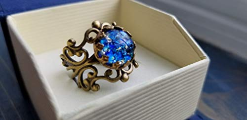 Blue fire opal ring, 10mm, round, glass cabochon, soldered crown bezel, antiqued golden filigree ring base.