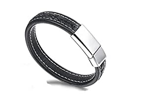 Braided Leather Bracelet for Men Bangle Wrap Stainless Steel Magnetic-Clasp 7.5-8.5 Inch Vintage Leather Wrist Band Brown Rope Bracelet