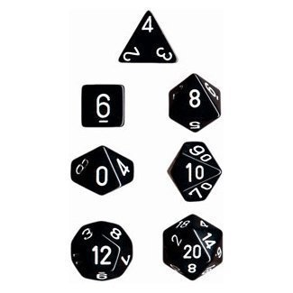 UPC 644766074846, Chessex Dice: Polyhedral 7-Die Opaque Dice Set - Black with White (2-Pack)