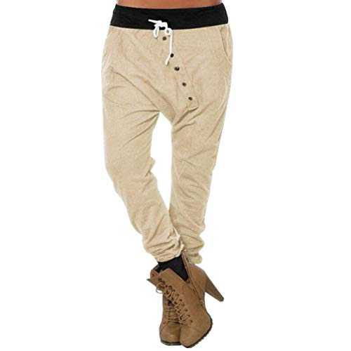 CICIYONER Botón de Mujer Hipsters Harem Pantalones Deportivos Bloomers Pantalones de Cintura Alta Pantalones Beige