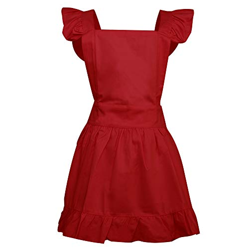 (Aspire Kitchen Apron For Women Retro Cotton Frilly Maid Apron Vintage Costume Halloween Party Gift-Red )