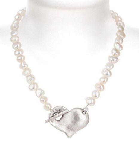 Danon Designer Jewellery Collier de perles avec grand pendentif plaqué argent en forme de cœur