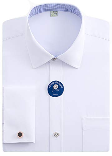 J.VER Men's Regular Fit French Cuff Spead Collar Long Sleeve Metal Cufflink Dress Shirts White - Color:Contrast White, Size: 17.5