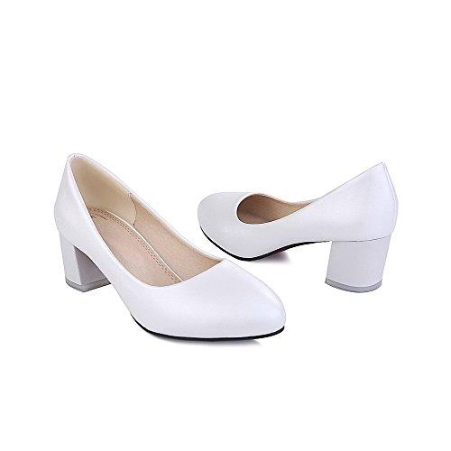 AllhqFashion Womens Round Closed Toe Pull On PU Solid Kitten Heels Pumps-Shoes White 9jn8YRjUhq
