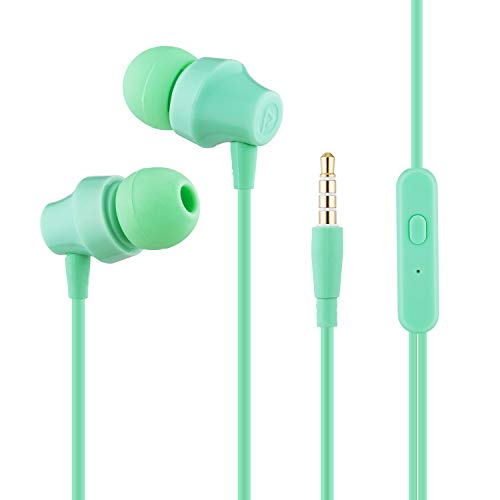 YOOME In Ear Headphones with Noise Isolation Earbuds and Microphone for IOS Android Smart Cell Phones Samsung HTC LG Mp3 Mp4 Earphones(green)