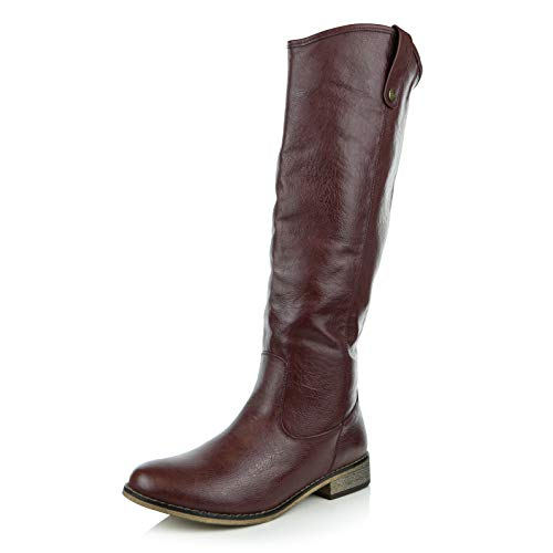 - DailyShoes Women's Round Toe Pull up Zipper Mid Calf Western Cowboy Boots Knee High Boot, Burgundy PU, 7.5 B(M) US
