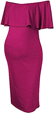 SIN vimklo Womens Pregnants Dresses Off Shoulder Ruffles Solid Nursing Maternity Dress