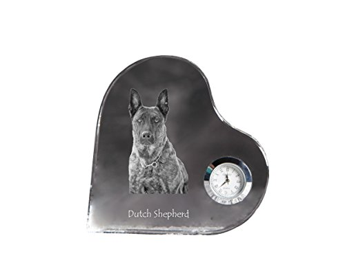 Dutch Shepherd, heart shaped crystal clock with an image of a ()