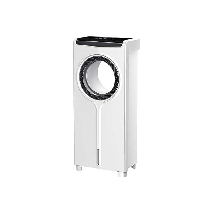 31LrXMTY7BL : la electricidad del ventilador sin aspas consume la mitad de la energía de un ventilador convencional, la vida laboral es más larga. Aire 100% natural, te hace sentir cómodo y fresco a través del flujo de aire constante. : control remoto infrarrojo completo, control remoto de 6 m, disfrute inteligente del hogar. Ventiladores sin cuchilla que oscilan la sincronización remota, sacudiendo la cabeza, 30/60/90/120 minutos. : el enfriador de aire de escritorio sin cuchillas cortando el aire significa que el flujo de aire es suave, sin golpes desagradables. Brisa suave que lo hace seguro para niños y mascotas.