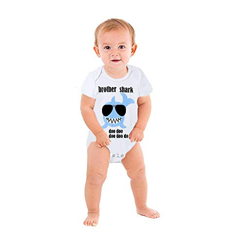 (Baby Toddlers Boys Girls Baby Shark Clothes Big Sister Shark Top Tees Lil Brother Romper Matching Outfits (6-12 Months, Little Brother Shark Romper))