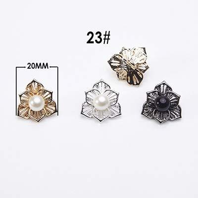 Mink Fur Pearl Button (Maslin 5pcs Flower Rhinestone Pearl Coat Button Metal Botones Wedding Decor DIY Mink Fur Clothes Sewing Craft Accessories CN016 - (Color: 23, Size: Gold))