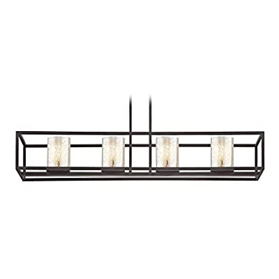 Industrial 4-Light Linear Chandelier with Mercury Glass in Bronze