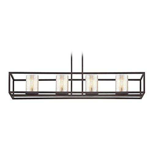 Steel 4 Light Chandelier - Industrial 4-Light Linear Chandelier with Mercury Glass in Bronze