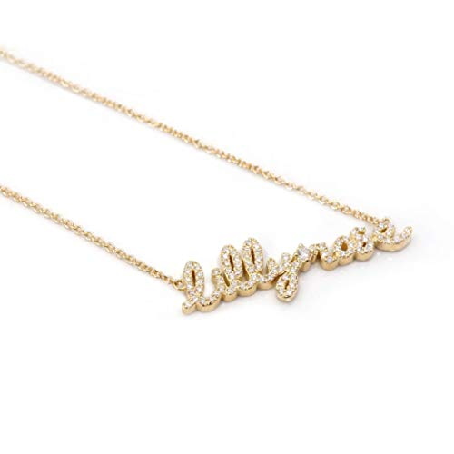 Luxury Necklace 14k Real Solid Gold with Genuine Diamonds   Custom Name Jewelry