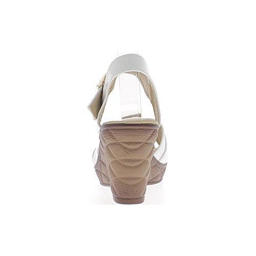 Sandalias de cuña de tacón de 8,5 cm mujer blanca de barnizado