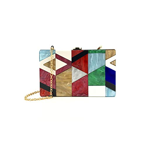Women Evening Bag Geometric Stitching Color Acrylic Box Party Package Borsa A Tracolla Da DonnaRedChina