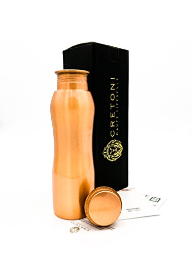 FDA-Certified Cretoni Pure Copper Curve Sports Water Bottle with Bike friendly Leak Proof design - Perfect for Sports, Fitness, Yoga and Ayurvedic Health Benefits. (850 ml / 28 (Copper Curve)