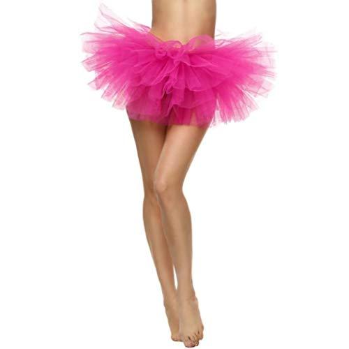 Sixcup Tutu Femme Ballet en Tulle Jupe Courte Mini Pettiskirt D'lastique Mini Multicouche Rose Vif