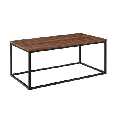 Amazon Com Wood Coffee Table With Metal Frame Rectangular Coffee