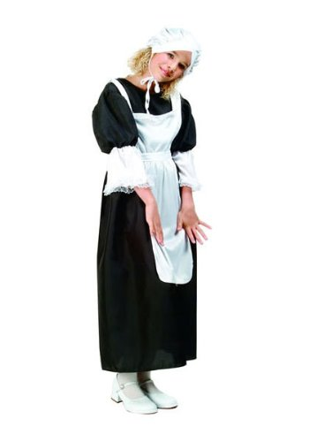 Party City Couples Costumes (RG Costumes Pilgrim Girl Costume, Black/White, Medium)