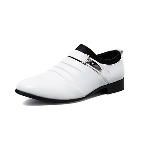 Hunleathy Men's Casual Slip on Oxford Pointed Toe Dress Shoes White US 9.5