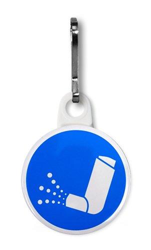 BLUE ASTHMA INHALER Medical Alert 1 Zipper Pull Charm
