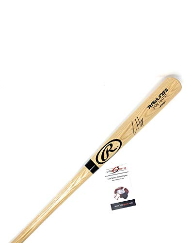 (Ian Happ Chicago Cubs Signed Autograph Baseball Bat Name Engraved Blonde LOJO Certified)