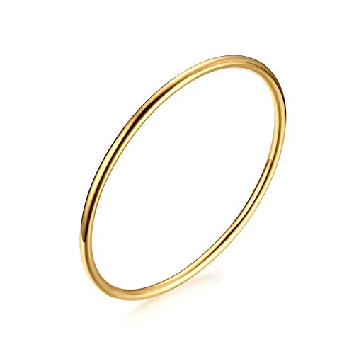 (VNOX 3mm Girl's Stainless Steel Round Bangle Bracelet,Gold Plated)
