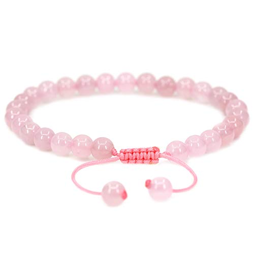 Rose Stone Cat Healing (Natural Rose Crystal Gemstone 6mm Round Beads Adjustable Bracelet 7