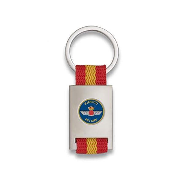 Tiendas LGP Albainox- Llavero Bandera de España y Emblema Ejército del Aire, Plateado 1