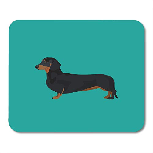 Emvency Mouse Pads Brown Weiner Dachshund Dog Colorful Animal Black Breed Canine Cartoon Mousepad 9.5